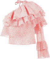 Rosie Assoulin printed ruffle one-shoulder top - women - Cotton - S
