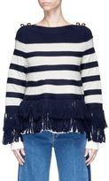 Sacai Fringe stripe wool cable knit sweater