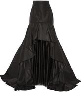 Oscar de la Renta Layered Silk-faille And Tulle Maxi Skirt - Black