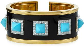David Webb 18k Turquoise Pyramid Cuff Bracelet