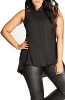 City Chic Plus Size Women's Flirty Lace Shirt