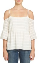 1 STATE Women's 1.state Cold Shoulder Ruffle Top