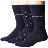 Emporio Armani Stretch Cotton Color Basic 3-Pack Short Socks Men's Crew Cut Socks Shoes