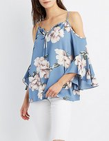 Charlotte Russe Floral Cold Shoulder Bell Sleeve Top