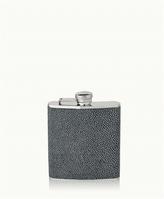 GiGi New York 6 oz Flask Grey Shagreen Leather