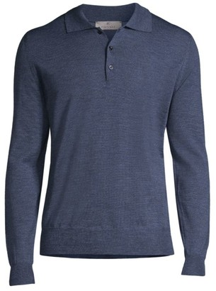Canali Long-Sleeve Three-Button Polo Sweater
