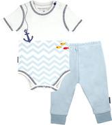 Kushies Light Blue Wave Bodysuit & Pants - Infant