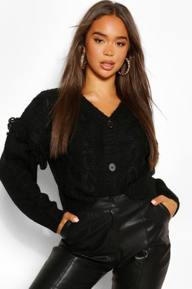 boohoo Chunky Cable Knit Cropped Cardigan
