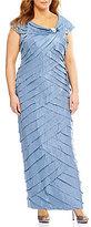 London Times Plus Portrait Collar Shimmer Shutter Gown
