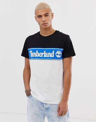 Timberland crew neck t-shirt with print in cut and sew black/blue/white