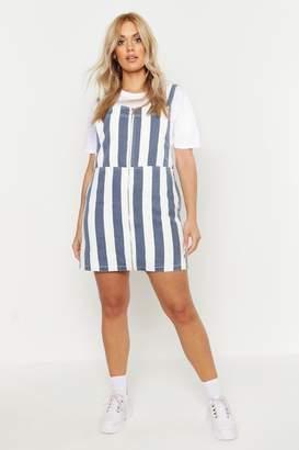 boohoo Plus Stripe Denim Pinafore Dress