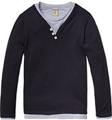 Scotch Shrunk Boy's 2-in-1 Style: Grandad Pull with Inner Long Sleeve Tee T-Shirt,104 (Herstellergröße: 4)