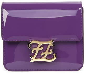 Fendi Karlygraphy Violet Patent Leather Shoulder Bag