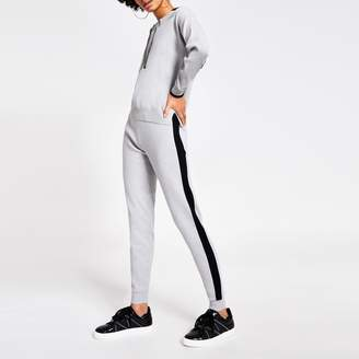 River Island Womens Grey colour block embellished tie joggers