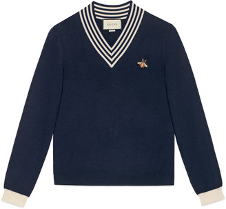 Gucci V-neck wool knit with bee