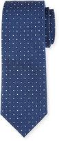 Neiman Marcus Dot-Print Silk Tie, Navy/White
