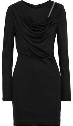 Alexander Wang Zip-detailed Draped Wool Mini Dress