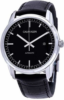 Calvin Klein Men's Stainless Steel Automatic Watch with Leather Strap Black 22 (Model: K5S341CZ)
