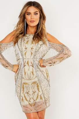 boohoo Premium Embellished Open Back Fringe Mini Dress