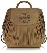 Tory Burch Harper Fringe Otter Brown Nubuk Mini Backpack
