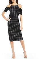 WAYF Farley Checked Cold-Shoulder Midi Shift Dress