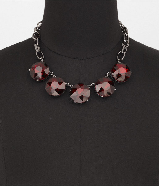 Express Round Faceted Stone Link Necklace
