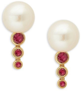 Saks Fifth Avenue 14K Yellow Gold, 7MM Pearl Ruby Drop Earrings