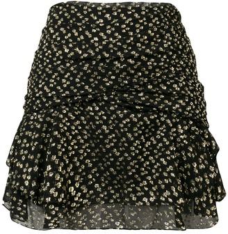 Saint Laurent Printed Mini Draped Skirt