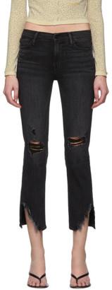 Frame Black Denim Le High Straight Side Fray Jeans