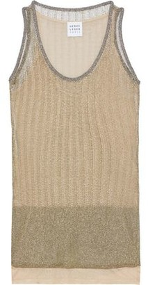 Herve Leger Ribbed Metallic Open-knit Top