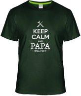 Eagle u2 Men's Keep Calm and Papa Will Fix It custom Tees deepGreen