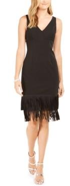 Adrianna Papell Fringe-Trim Sheath Dress