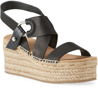 Rag & Bone August Leather Wedge Platform Sandals