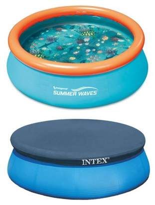 Intex Summer Waves 8ft x 30in Inflatable Kids Pool & 8ft Above Ground Pool Cover