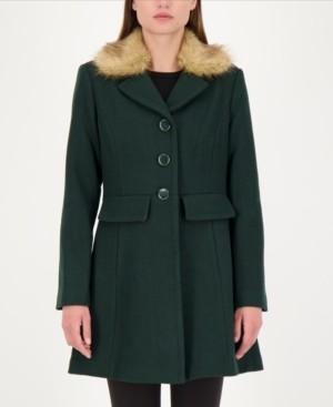 Kate Spade Faux-Fur Trim Walker Coat, Created for Macy's
