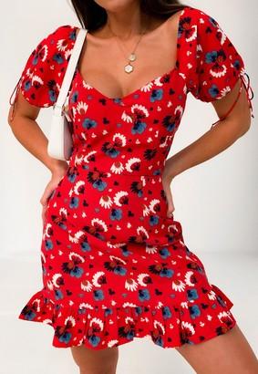 Missguided Red Floral Milkmaid Ruffle Hem Mini Dress
