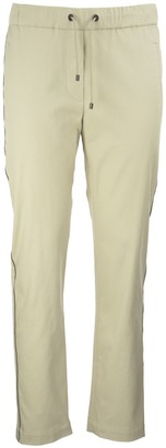 Brunello Cucinelli Comfort Cotton Twill Track Trousers With Shiny Side Stripe Butter