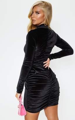 PrettyLittleThing Black Velvet Ruched Long Sleeve Bodycon Dress