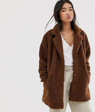 Only longline teddy coat-Brown