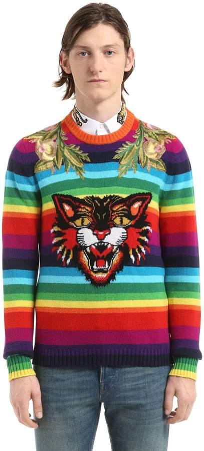 Gucci Cat Striped Wool Sweater