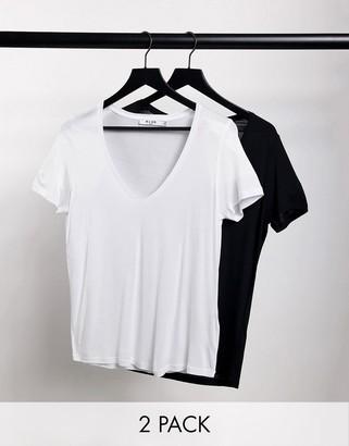 NA-KD 2 pack v neck t-shirt in black and white