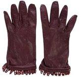 Hermes Logo Fringe Leather Gloves