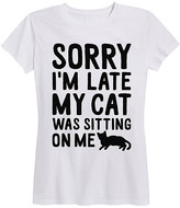 Instant Message Women's Women's Tee Shirts WHITE - White 'Cat Sitting on Me' Relaxed-Fit Tee - Women