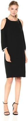 Nine West Women's 3/4 Trim Detailed Sleeve Crepe Cold Shoulder Shift Dress