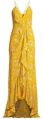 Jay Godfrey Elsie Paisley Ruffle Maxi Dress