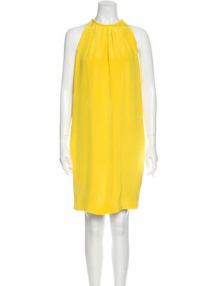 Celine Silk Knee-Length Dress Yellow