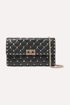 Valentino Garavani Rockstud Spike Quilted Leather Shoulder Bag - Black