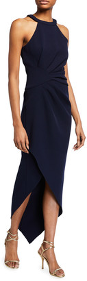 Shoshanna Melosa Midnight Crepe High-Low Halter Dress