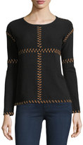 Neiman Marcus Cashmere Suede-Stitch Sweater, Black