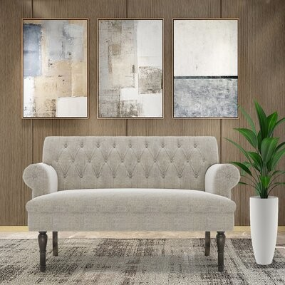 """Thumbnail for your product : Alcott Hill 58"""" Linen Chesterfield Settee Button Tufted Scrolled Arm Loveseat"""